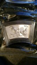 2005 China Year of the Rooster Fan-shaped Silver coin sealed with box