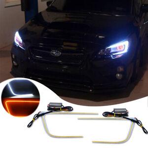 Fit for 2015-2019 Subaru WRX STI Headlight C-Ring LED DRL Strip White/Amber