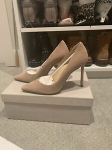 Jimmy Choo Romy 100 Suede Pointed Toe Pumps $650 Size 37/US 7 Nude