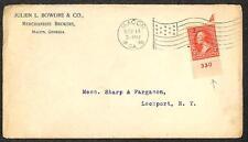 USA SCOTT #267 PLATE NUMBER SINGLE STAMP MACON GEORGIA FLAG CANCEL COVER 1896