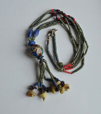 Vintage tribal garnet red coral blue coral lapis heishi enamel necklace & tassel