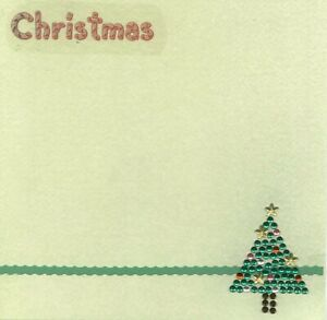 CHRISTMAS Tree Crystals  6 x 6 Premade Scrapbook Page Add Photo