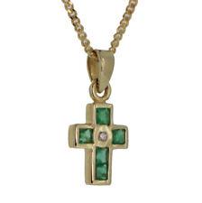 Kinder Taufe Kommunion Firmung Kreuz 6 Smaragd Diamant 0,01 ct Echt Gold 585