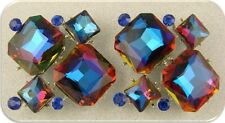 2 Hole Beads Glass Facets Blue Rainbow Sapphire Swarovski Crystal Elements QTY 2