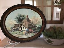 """MARTY BELL """"GOATER'S COTTAGE"""" OVAL FRAMED ON CANVAS WITH COA"""