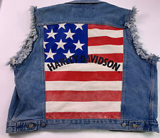 Harley Davidson Motorcycle XL Jean Vest  Blue Denim Sleeveless USA Flag Jacket