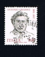 ITALIA 1 FRANCOBOLLO ANTONIO GRAMSCI POLITICO 1987 timbrato