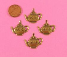 W/ Top Ring - 4 Pc(s) Vint Design Ant Brass Teapot Charm