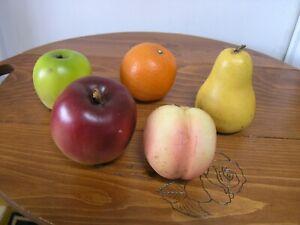 VTG Ceramic Fruit 5 Pieces Realistic w Labels Apples, Orange , Peach, Pear