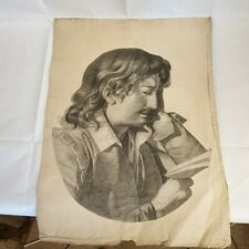 Antique Late 19th Century Cut Out Sketch Portrait Of A Young Man With Moustache