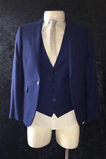 BURTON Mens Blue 3 Piece Suit Jacket 36 - s Trousers 32 - s Waistcoat  - Small