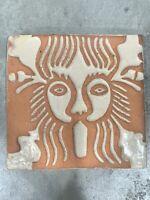 Handmade 3D Terracotta Clay Lion Face Tile Trivet