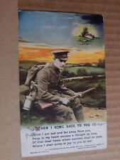 """Postcard WW1 Song Card """" When I Come back To You """" card 1 unposted"""
