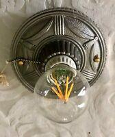 Antique Art Deco, Art Nouveau Cast Iron Ceiling Mount, single bulb restored