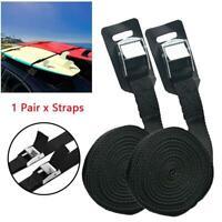 1 Pair Use Black Tie Down Straps Dorsal Surfboard Kayak Surf Roof Rack Bike