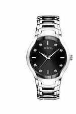 Bulova Men's 96D117 Diamond Markers Black Dial Stainless Steel Dress Watch