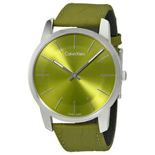 Calvin Klein City Green Dial green Leather Mens Watch K2G211WL