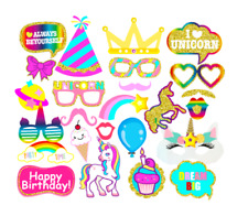 Unicorn Rainbow Photo Booth Prop Girl Birthday Party Supplies Decoration-25count
