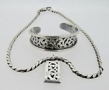 Sterling Silver Lois Hill Necklace w/Pendant and Cuff Bracelet Set