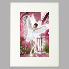 "Ballet Angel Print for women & girls pink bedroom Mounted Wall Art A4 12"" x 16"""