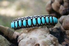 Navajo Sterling Silver Turquoise Men's Cuff Bracelet - Nelson Burbank - Heavy