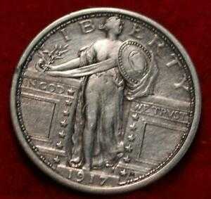 1917 Type 1 Philadelphia Mint Silver Standing Liberty Quarter