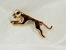 Panther-Brosche in 333 Gold mit Diamant