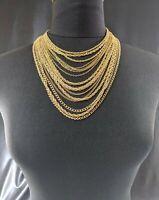 Beautiful Vintage Gold-tone Seventeen chain Trifari Jewellery Necklace