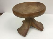 """African Antique Wooden Stool Hand-carved Tribal Drum/ Milking Seat 10"""" diameter"""