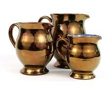 Vintage Welsh Studio Pottery Jug Copper Lustre Blue Interior Creigiau Set of 3