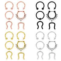 24×Surgical Steel Septum Clicker Retainer Nose Hoop Horseshoe Ring Body Piercing
