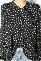 MANGO Bluse Gr. XL/42 schwarz Chiffon Bluse/Tunika mit creme-weißen Sternen