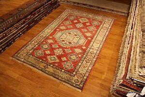 4X6 Caucasian Design Authentic Original Wool pile Red background Geometric rug