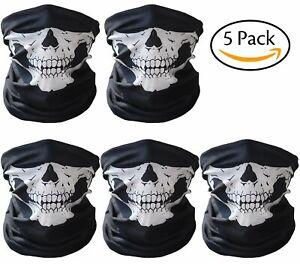 5 pack Black Microfiber Seamless Skull Face Mask Balaclava Tube 7+ functions