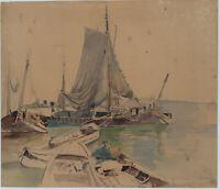 Deutscher Künstler 1814, Im Hafen v. Portofino, Italien, Aquarell