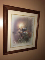 VINTAGE ANDRES ORPINAS FRAMED MATTED PRINT COUNTRY HOME 28 X 24 INCHES
