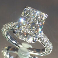 3.0 Crt Radiant Cut Brilliant Moissanite 3-Row Engagement Ring in 14K White Gold