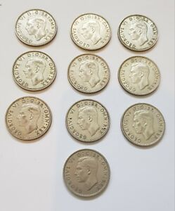 Joblot of 10 George VI Two Shillings silver coins, dating from 1939 to 1948