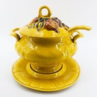 Vintage N.S. Gustin 1961 Pottery 4 Piece Soup Tureen Server Yellow Harvest 3 Qt