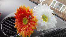 Double Gerbera Daisy Car Dashboard Flower Orange & White for VW Beetle Bug Vase