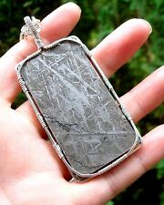"""GORGEOUS Huge SS Wire Wrapped Gibeon  Meteorite Namibia Pendant  24"""" Chain"""