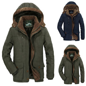 UK Mens Winter Thick Parka Hooded Jackets Padded Warm Overcoats Outwear Coats