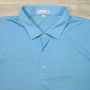 Peter Millar Polo Shirt Tailored Fit 100% Cotton Blue Men's XL