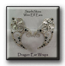 Dragon Wire Elf Ears, with Hematite in Sterling Silver Filled, ear wrap.