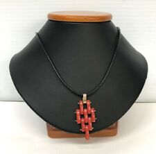 Sterling Silver and High quality Coral & Leather Necklace 18""
