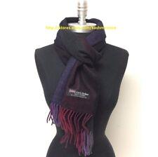 Men's 100% Cashmere Scarf Tweed Stripe Burgundy/Purples/gray/black Wrap SCOTLAND