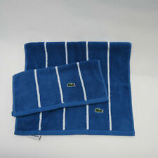NWOT Izod Lacoste Cotton Hand Towel Washcloth Set Blue White Stripe