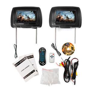 """2x Black 7"""" Car Headrest Monitors w/DVD Player/USB/SD/FM/IR+Games"""