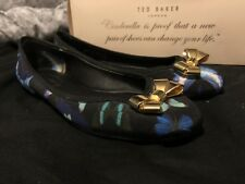 Ladies Size 3 Ted Baker Blue And Black Butterfly Dolly Shoes