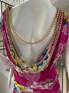 Dolce & Gabbana for D&G Vintage Floral Dress w Draped Gold Chain Details